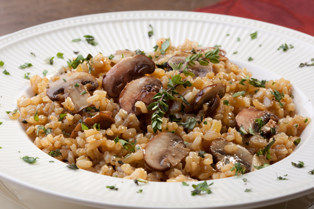 Slow Cooked Brown Rice Risotto and Mushrooms photo