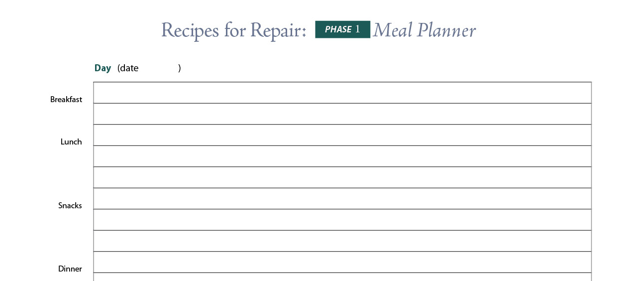 Phase 1: Meal Planning Grid and Suggested Meals